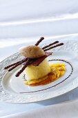 Apple sorbet with chocolate ice cream