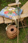 Lounger, fishing net and creel