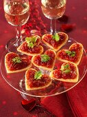Tomato sauce on puff pastry hearts
