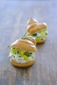 Profiteroles filled with quark and chives