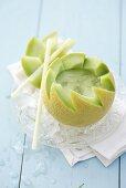 Galia Melon Daiquiri in a melon