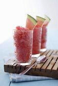 Watermelon and raspberry granita