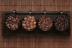 Various types of coffee beans