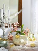 Buffet decoration: white pumpkins, pink orchids, glasses of wine