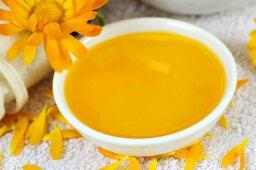 Marigold oil in small dish