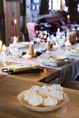 Meringues on festive table