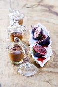Chocolate mousse and port wine figs