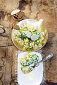 Weisswurst (white sausage) with potato and radish salad
