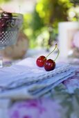 Cherries on romantic table