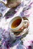 Cup of tea on romantic table