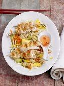 Satay on cabbage salad (Asia)