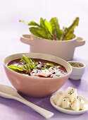 Beetroot soup with chard leaves and feta