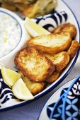 Fried Halloumi cheese with dip