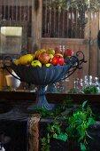Bowl of fruit in country inn (France)