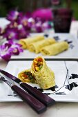 Thai-style pancakes with vegetable filling