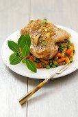 Turkey leg with vegetables