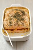 Meatloaf filled with cheese and dried tomatoes