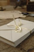 Elegant envelopes on wooden table