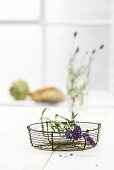 Lavender flowers in wire basket
