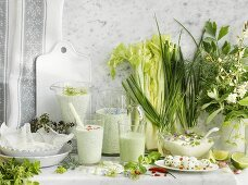 Assorted dairy products with herbs