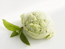 A scoop of mint and kiwi fruit sorbet