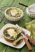 Spinach and fish quiches