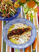 Salmon with Asian spices and salad