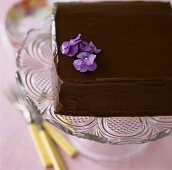 Square chocolate cake decorated with purple flowers