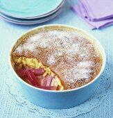Rhubarb soufflé in blue dish
