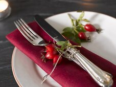 Place-setting with rose hips