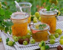 Gooseberry jam and fresh gooseberries