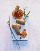 Mini spring rolls with sweet and sour sauce