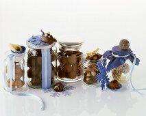 Chocolates in storage jars