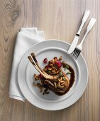 Pork chops with radishes and chanterelles