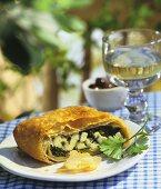 Spinach and feta strudel