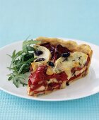 Red pepper, black olive and goat's cheese tart