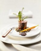 Lamb crepinette with herbs and green lentils