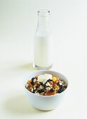 Muesli with dried fruit, milk and crème fraîche