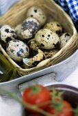 Quails' eggs and broken eggshell in small basket