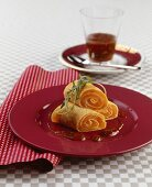 Pancakes with salmon filling
