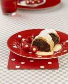 Poppy seed strudel with vanilla cream & stuffed raspberries