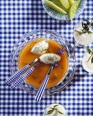 Cold melon soup with buttermilk dumplings