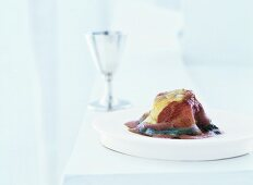 Scallop with calf's head, Pinot Noir nage