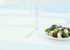 Beetroot cooked in sea salt, with potato gnocchi and chive sauce