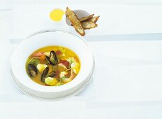 Bouillabaisse of North Sea fish with aioli and toasted bread