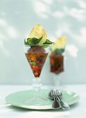 Tomato and olive sorbet with mozzarella crisp and basil