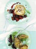 Tuna with black cherry chutney, swordfish tartare
