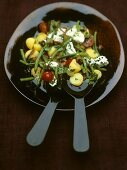 Mediterranean potato salad with green beans and goat's cheese