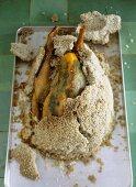 Guinea fowl in salt crust