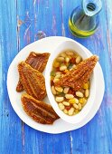 Red mullet with bean salad